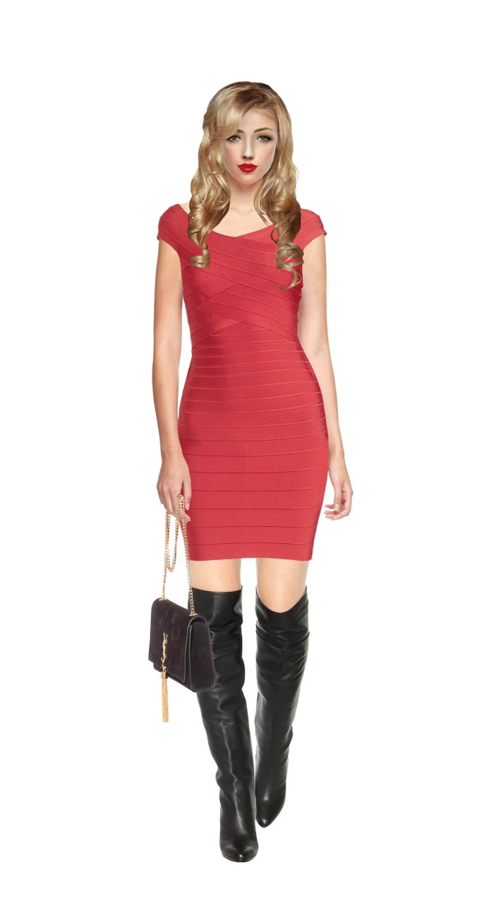 clothing model wearing herve leger tayler bandage dress with black Jimmy Choo knee high boots and a Saint Laurent bag