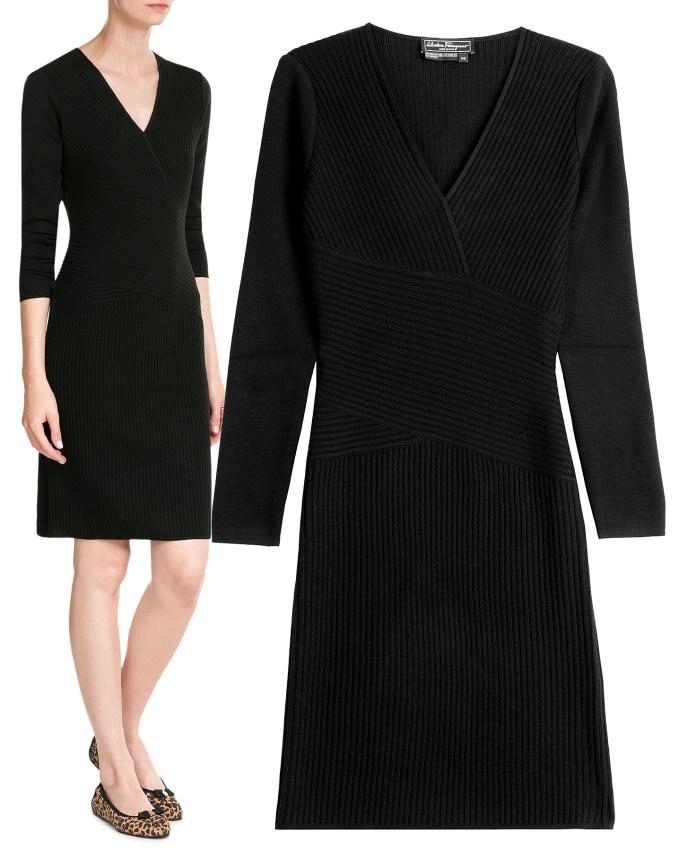 Black Salvatore Ferragamo dress ribbed sweater dress