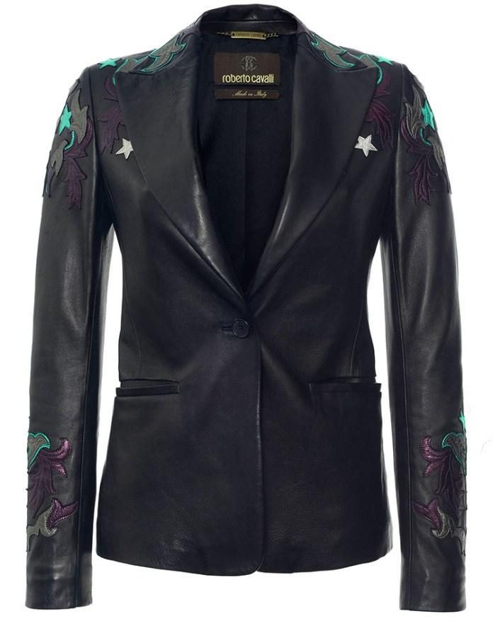 Roberto Cavalli black Embroidered Leather Blazer