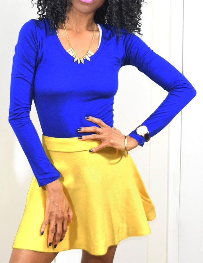 bright electric blue top yellow skirt outfit