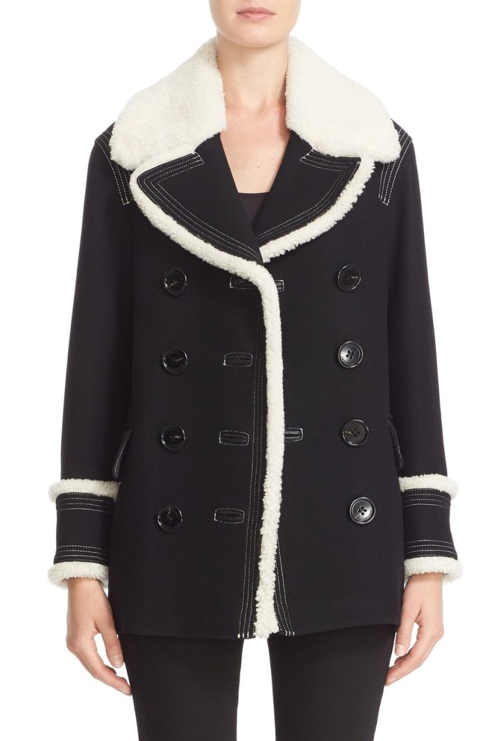 Burberry Colstead Wool Blend Coat with Leather Genuine Shearling Trim