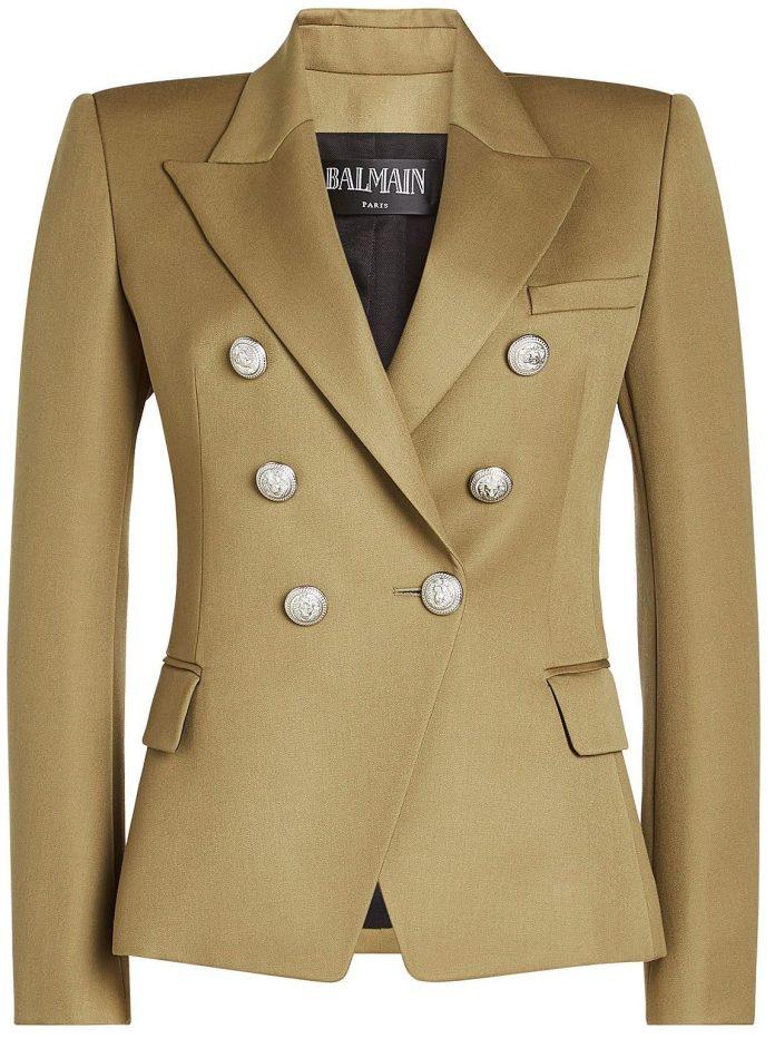 Balmain green Double Breasted Wool Blazer