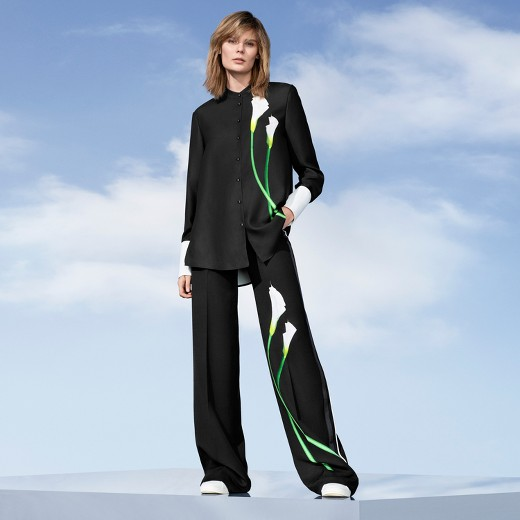 Victoria Beckham Target womens black calla lily print button down top matching black calla lily satin wide leg pants