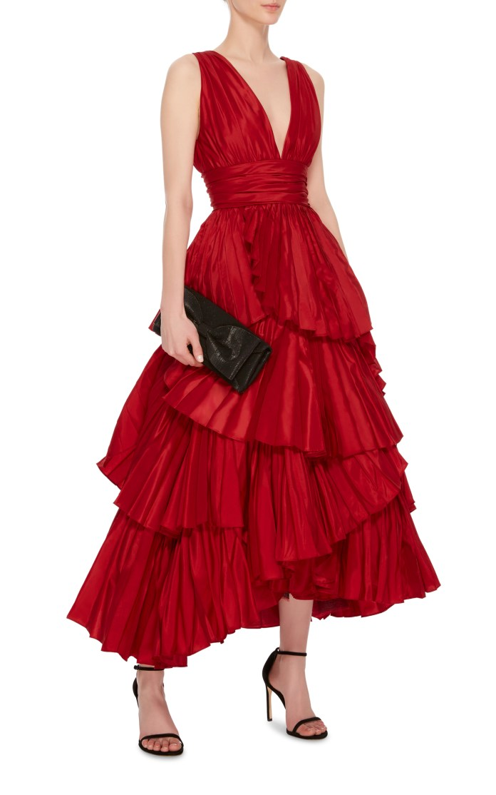 Oscar de la Renta red tiered silk gown