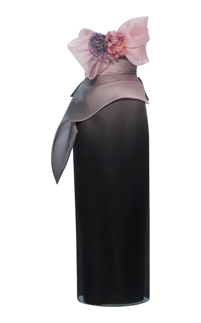 Marchesa Ombre Silk Column Gown