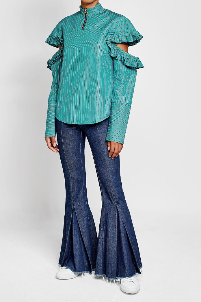 Maggie Cold-Shoulder Cotton Blouse with Ruffles worn with Maggie Marilyn flared jeans - image via Stylebop.com