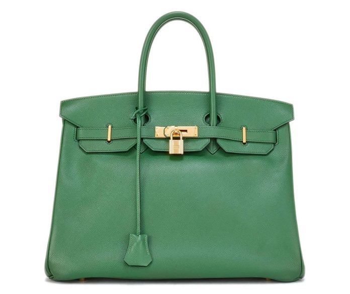 Hermes green Vintage Bamboo Birkin Courchevel Satchel Bag