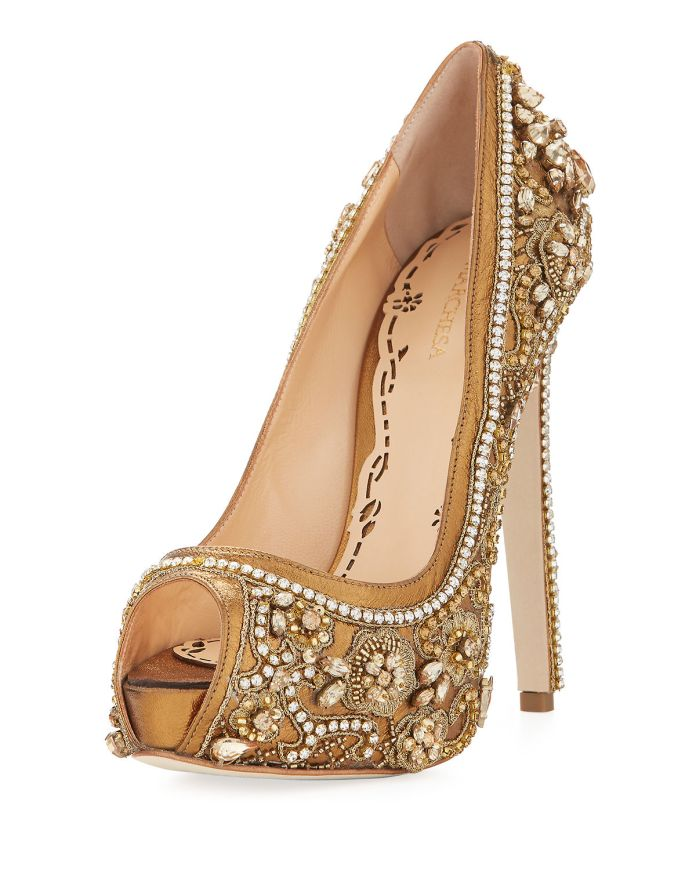 Marchesa Rose Jeweled Peep-Toe Platform Pump