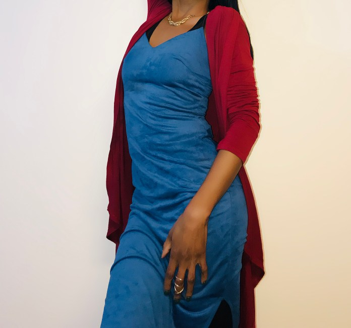 burgundy Waterfall Duster Cardigan blue suede slip dress