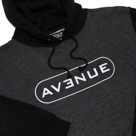 Entertainment Raglan Black Charcoal Hooded Pullover Detail