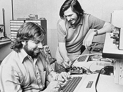 Steve and Woz in Jobs' garage creating Apple.