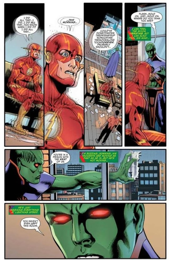 Martian Manhunter reads Flash mind which was processing at attoseconds