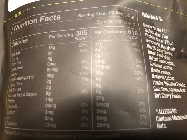 Mud Meals Nutritional Facts
