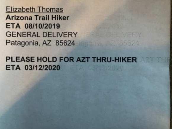 Arizona Trail Planning USPS Label