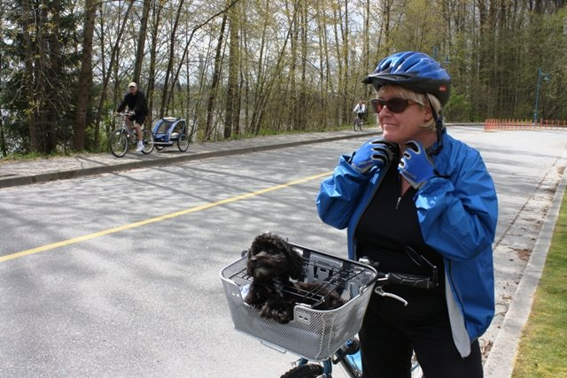My wife Maggie has become even more hard core about cycling than I am. She also writes posts, under the name she chose: Mrs. Average Joe Cyclist. Here she is with one of our dogs, Billy.