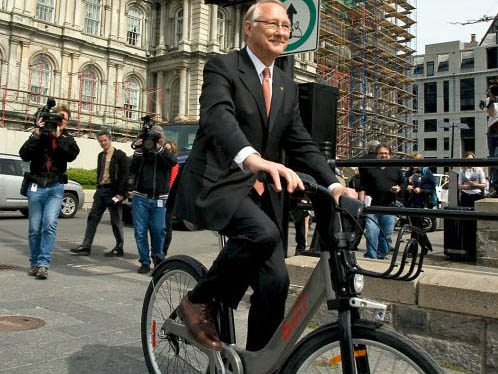 Mayor Tremblay on a Bixi in Montreal