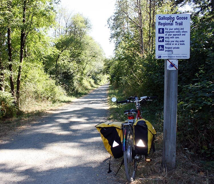 Axiom panniers typically have useful safety features, such as these very visible reflective triangles, which make them very visible from behind. Even in daylight they are reflective. I took this photo on a cycling tour along the wonderful Galloping Goose Trail on Vancouver Island