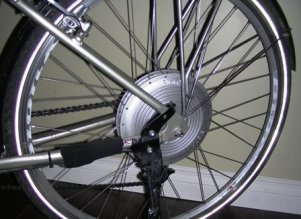 The motorized back-wheel on my BionX electric bike kit