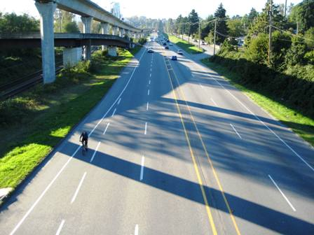 Lougheed Highway has a broad cycle path
