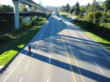 Lougheed Highway has a broad cycle path