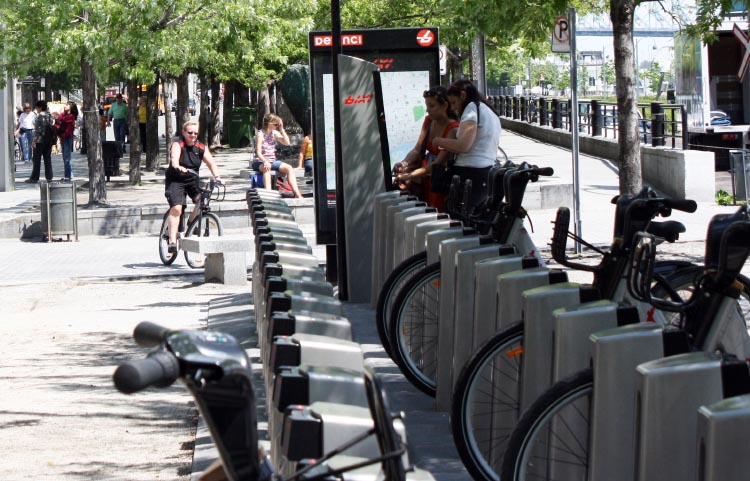 Returning a Bixi to a Bixi Station right beside the Lachine Canal Bike Path.
