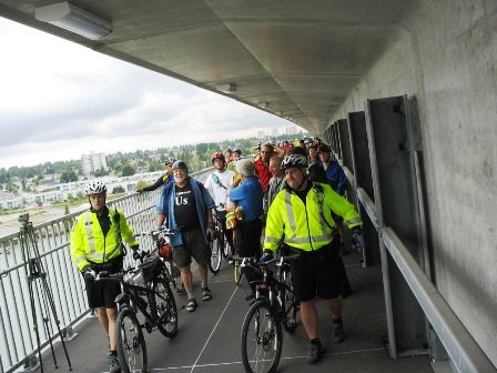 Opening day for the bike lane on the new Canada Line Bridge was attended by many Richmond cyclists