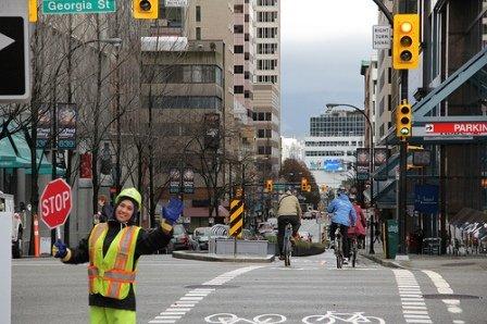 Hornby separated bike lane photo by Paul Krueger