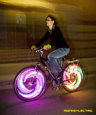 Monkeylectric bike lights are environmentally friendly, bright and fun - and will keep you a lot safer while cycling in the dark