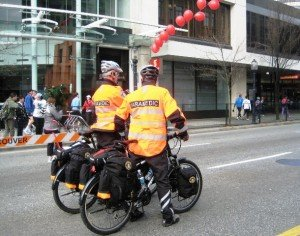 Paramedics on bikes at Vancouver Sun Run