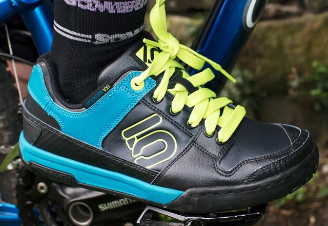 Five Ten cycling shoes have soles made of stealth rubber for great grippiness on flat pedals