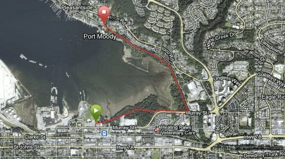 Map of the Shoreline Trail in Rocky Point Park. Shoreline Trail in Rocky Point Park, Port Moody, BC, Canada – Guide and videos