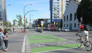 Stanley Park Causeway post - Safe cycling for all is only possible with proper infrastructure that gives motorists, cyclists and pedestrians a share of the road