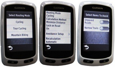 Garmin Edge Touring Navigator GPS Bike Computer routing modes. Garmin Edge Touring Navigator GPS Bike Computer Review