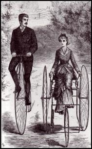 ReplaceBikewithCar - Business people on bikes in 1880 - unthreatened by motor cars, still owning the road in stately safety