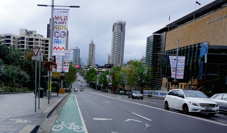 Sydney cycling - faded old paint on the road does NOT protect cyclists from speeding cars.