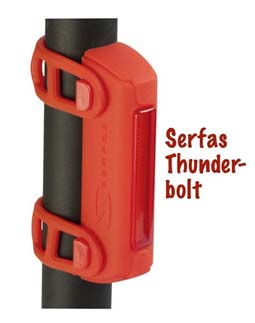 The Serfas Thunderbolt light is reviewed here - bike safety
