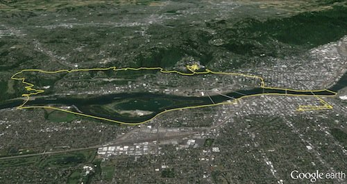 Google Earth map of cycling around the Willamette River, Portland, Oregon