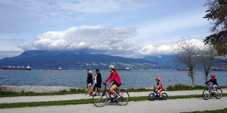 In a similar setting in Vancouver, there are miles and miles of wonderful demarcated cycling lanes – the Seaside Bike Route – and thousands of cyclists are out every single day