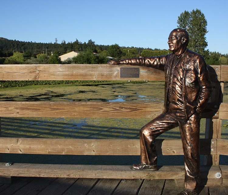 "Life-size statue on this pedestrian bridge on the Lochside Trail, called ""Roy"" - if anyone knows more about this artwork, and who ""Roy"" was, please let me know."