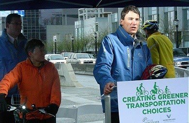 Mayor Gregor Robertson, before he got on his bike to lead the official opening of the Dunsmuir separated bike lane. March 10, 2010. Photo by J. Chong