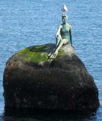 The Girl in a Wetsuit statue in the Burrard Inlet