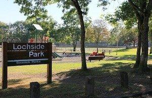 Lochside Park is alongside the Lochside Trail