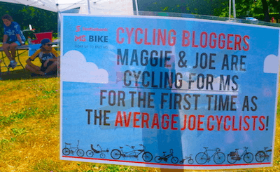 A sweet little sign created by the organizers - this gave us a big smile - MS Bike Ride