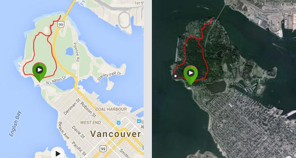"Map of Prospect Point trail in Stanley Park - the route on the left is the ""correct"" route. The route on the right is me getting lost on the way back. Both routes are great fun!"