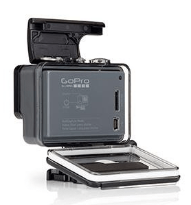 GoPro Hero opened up so you can get the MicroSD card out