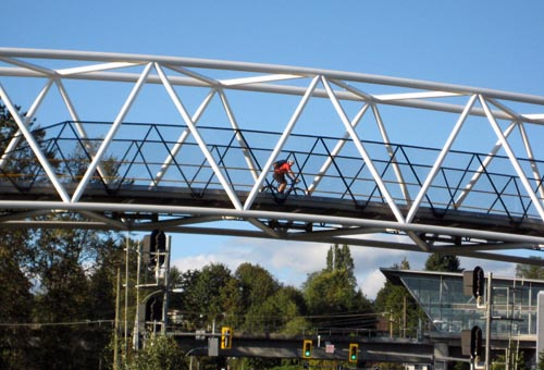 Another view of the Winston Bridge on the Central Valley Greenway. In the background is the Sperling-Burnaby Lake Skytrain station - in case you're exhausted by this time, the skytrain can take you on to New Westminster or back to Vancouver