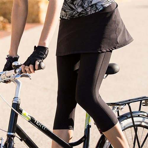 A cycling skort takes you elegantly from a ride into a restaurant for a snack