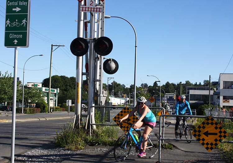 You get to do some bike ballet to cross the railway line. I guess somebody thought this would keep us safe ... but .. Why, Why, Why? You should see what a gong show it is at rush hour, when a steady stream of pedestrians and cyclists try to get through!