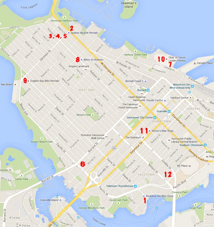 Bike Rentals Vancouver – Where to Rent Bikes in Vancouver. Vancouver Bike Rentals Map