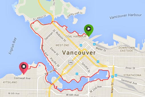 Map of the Seaside Bike Route from Coal Harbor to Kitsilano. cycling vacation in Vancouver